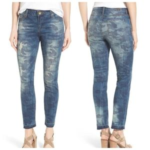 Kut from the Kloth Reese Camo Ankle Jeans Blue 0